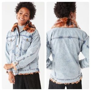 Urban Outfitters Faux Fur Denim Trucker Jacket